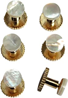 Lloyd Attree Dress Shirt Studs Set of Six Gold Colour and Pearl in Gift Box