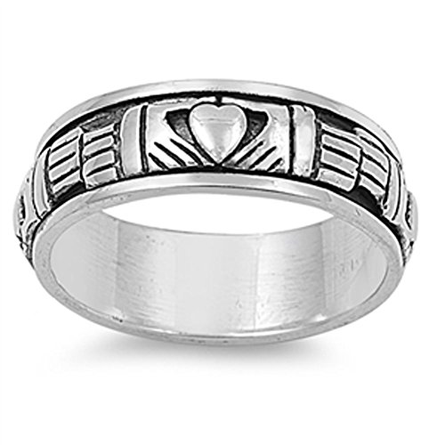 Sterling Silver Women's Men's Claddagh Spinner Ring Celtic Band 9mm Size 8