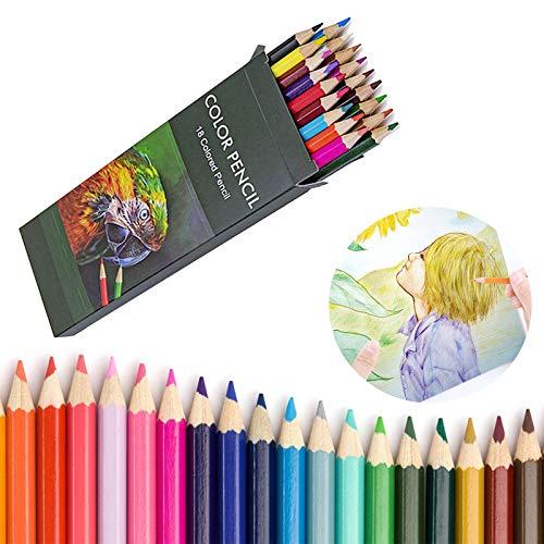 Matite colorate per adulti e bambini, un set di 18 colori a matita, matita grassa con impugnatura esagonale, durezza 2B, molto adatta per colorare, disegnare, mandala