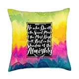 Positive Christian Bible Quotes by PFxPsalmCo Tie Dye Psychedelic Purple & Pink Psalms 91 Rainbow Gradient Throw Pillow, 18x18, Multicolor