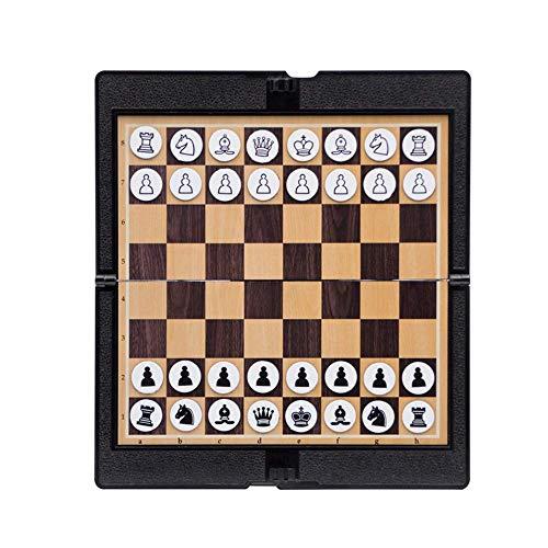 WMY Juego de ajedrez Cartera de Bolsillo de Aprendizaje para Estudiantes Regalo de Grado para el hogar Viaje Mini portátil Diversión Tradicional Juegos de Mesa Plegables magnéticos Escuela
