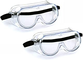 SuperMore (2PCS) Anti-Fog Protective Safety Goggles Clear Lens Wide-Vision Adjustable Chemical Splash Eye Protection Soft Lightweight Eyewear