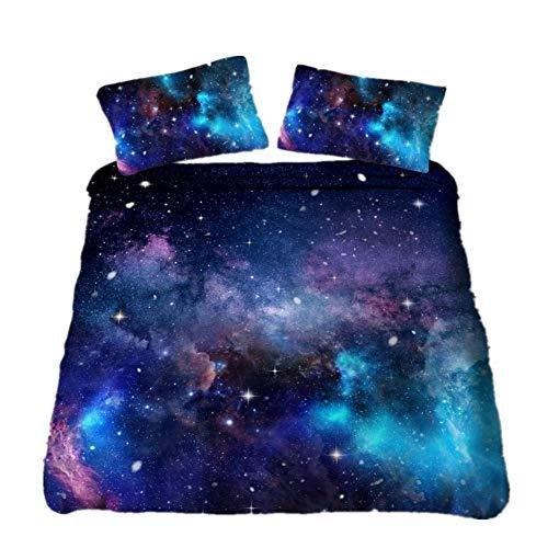 WENYA 3D Galaxia Ropa de Cama Estrella Planeta Constelación Nubes, Azul Púrpura Negro Funda...