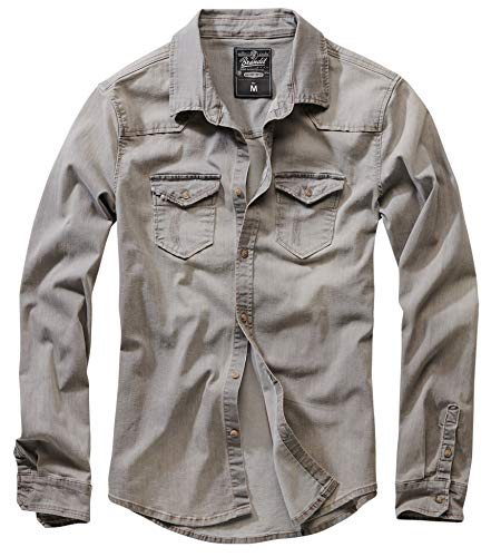 Brandit Denimshirt Riley - Grey - L