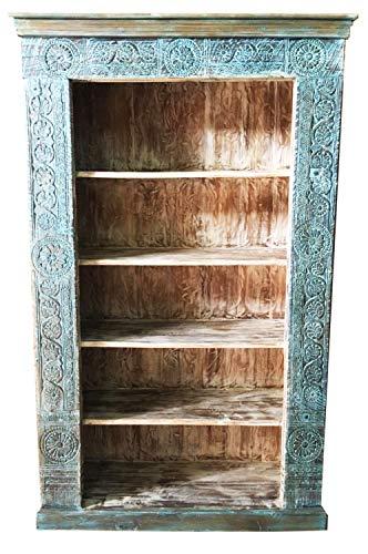 Rek van massief mango hout patroon 010 vintage blauw 215 cm hoog voor hal of slaapkamer | blauw staande kast zonder boren voor badkamer | brede ruimteverdeler wandrek voor boeken CD DVD in de woonkamer