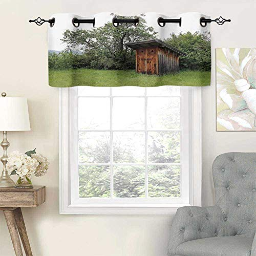 UV Blockout Valance Curtain Panel Outhouse Wooden Little Hut Barn Shed Cottage in Nature Forest Image, Set of 1, 54'x18' for Children Kids Room