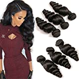 DAIMER Loose Wave Brazilian Hair Bundles 8' 10' 12'Inch Natural Color Unprocessed Virgin Human Hair Weave Extensions Wet and Wavy Double Weft For Women