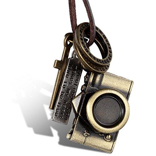 JewelryWe Schmuck Leder Halskette mit Kamera, Ringen, Kreuz und Schrift Tag Anhänger, Braun Lederkette für Damen und Herren