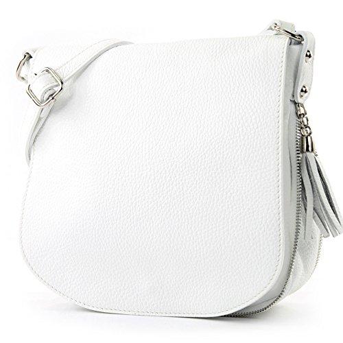 modamoda de - T06 - ital Messenger Umhängetasche aus Leder, Farbe:Weiß