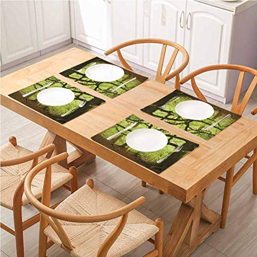 FloraGrantnan Dining Table Mat Cup Coaster Restaurant Decoration, Woodland English Woodland Scene with Sun Rays THO, Easy to Clean Premium Table Mats for Dining Table, Set of 8