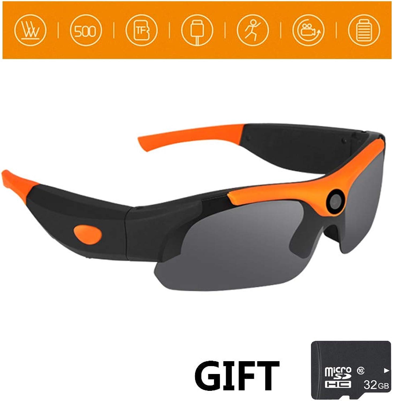 JEANN-YJGlasses 2 und 1 Sport Radfahren Sonnenbrille HD 1080P Kamera Mini DV Eyewear Geschenk 32 GB Speicherkarte zum Radfahren, Wandern