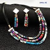 POSDN Collar de Cuerda de Tela de Estilo étnico con Estilo con un Conjunto de Pendientes, Vintage, Accesorios Femeninos Simples
