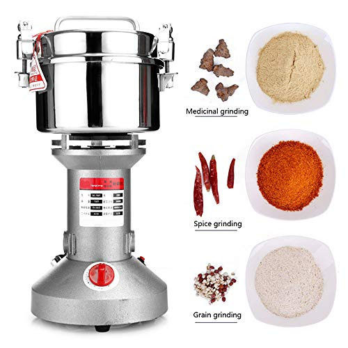 750G Electric Grain Grinder Mill Stainless Steel Electric Mill Ultra-Fine Powder Grinding Machine Portable High Speed Spice Herb Cereal Mill Grinder Flour Mill Pulverizer