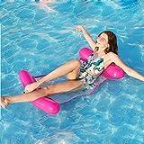BMDHA Swimming Pool Floating Bed, Multi-Purpose Inflatable Pool Hammock,Zattera Piscina Sedia Leggera Galleggianteper Aria Compatta Portatile per Adulti E Bambini Hammock,Rosa