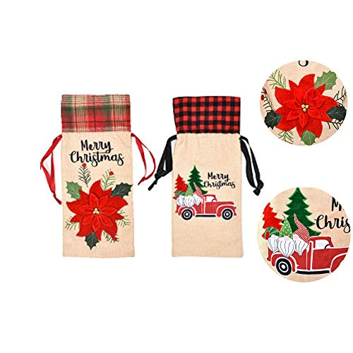 TOPSOSO 2 PCS burlap Christmas Eve wine bag fashion red with flowers Winter Forest Reindeer Antique Vintage New Years Decorative wine bag