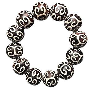 ZHIBO Natürliche Dzi Perlen Schwarz und Weiß gemustert Armband Armreif