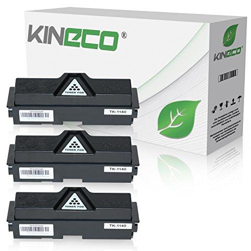 3 Toner kompatibel zu Kyocera TK-1140 für Kyocera Ecosys M2535dn, Ecosys M2035dn, FS-1035MFP/DP, FS-1135MFP, Schwarz je 7.200 Seiten