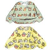 Babero Impremeable con mangas larga para bebé Manga Larga Resistente al agua Lavable Bebé Niños Alimentación Babero de Manga Larga (Cachorro/Gato)
