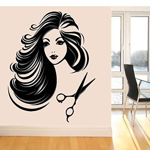 hetingyue muursticker van vinyl, afneembaar, voor kapsalon, mooi meisje, winkel, poster voor slaapkamer, decoratie