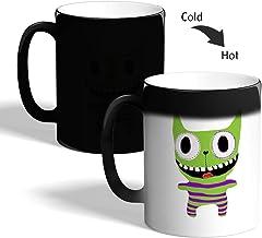 Printed Magic Coffee Mug, Black, Crazy cat - funny