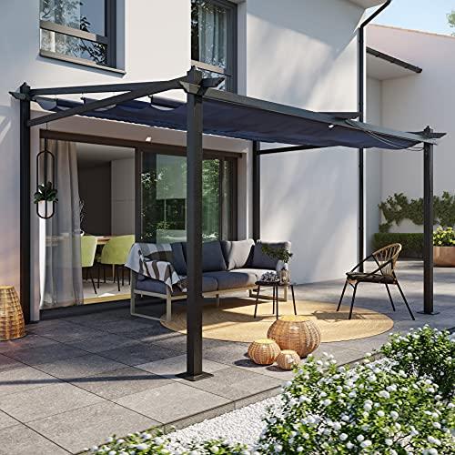 Avril Paris Tonnelle/Pergola Mural en Aluminium 3x4m Toile coulissante rétractable - Gris - Lisboa