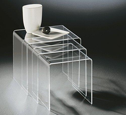 HOWE-Deko Hochwertiger Acryl-Glas Dreisatztisch, klar, 40 x 33 cm, H 35 cm und 35 x 33 cm, H 33 cm und 30 x 33 cm, H 30 cm, Acryl-Glas-Stärke 8 mm