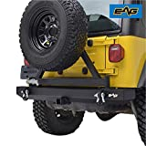 EAG Classic Rear Bumper with Tire Carrier and Hitch Receiver Fit for 87-06 Wrangler TJ YJ