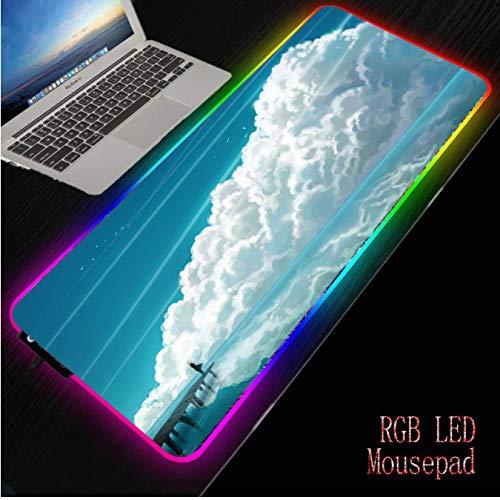 FVNJHL Cloud Landscape Gaming RGB Alfombrilla de ratón Grande Antideslizante Goma Ordenador Retroiluminación LED Teclado Alfombrilla de Escritorio 30 * 80Cm