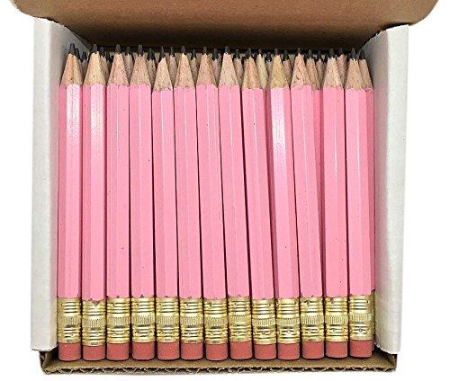 Half Pencils with Eraser - Golf, Classroom, Pew, Short, Mini - Hexagon, Sharpened, Non Toxic, 2 Pencil, Color - Pastel Pink, (Box of 48) Golf Pocket Pencils