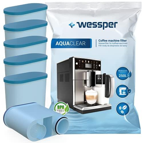 Wessper AquaClear WES040 zestaw filtrów do wody do ekspresu do kawy Saeco i Philips AquaClean CA6903/10 CA6903/22 CA6903 w pełni automatyczny ekspres do kawy AquaClean, zestaw 6 sztuk