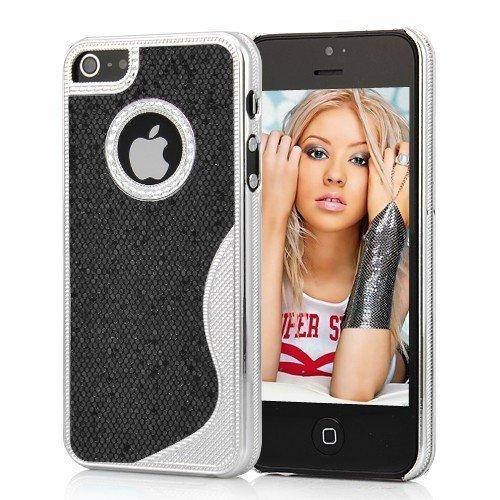 Cover Housse de protection des bornes pour Apple iPhone 5 femmes élégants chics femelle de cas de fille plata argent noir de téléphone portable de cas de téléphone portable