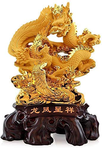 XiYou Individuality Model Feng Shui Phoenix and Dragon Statue Best Home Decor Living Room TV Cabinet Wine Cabinet Decorations Sculpture