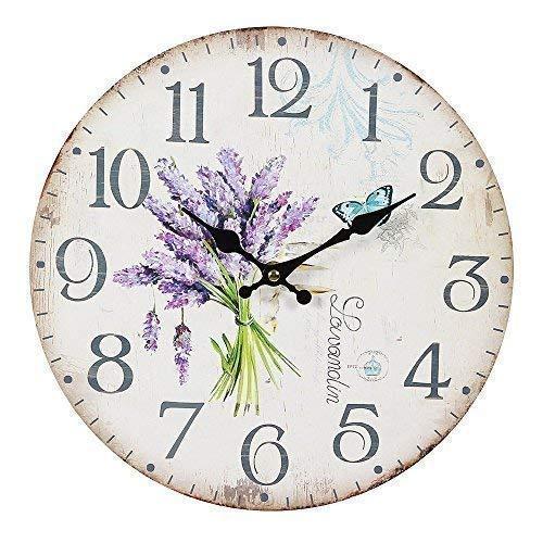linoows G1107: Lavendel Wanduhr im Landhausstil, Romantische Uhr mit Lavendelstrauß