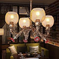 FEE-ZC 4-Lights Industrial Vintage Rustic Steampunk Chandeliers Metal Iron Waterpipe Retro Ceiling Pendant E27 Edison Antique Lamp Restaurant Bar Cafe Chandelier #2