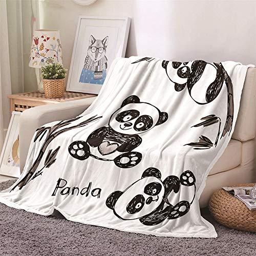 Chickwin Flanelldecke Kuscheldecke, 3D Tier Drucken Wohndecke Weiche Warm Decke Flauschige TV-Decke Mikrofaserdecke Sofadecke oder Bettüberwurf Tagesdecke (Schwarzer Panda,160x200cm)