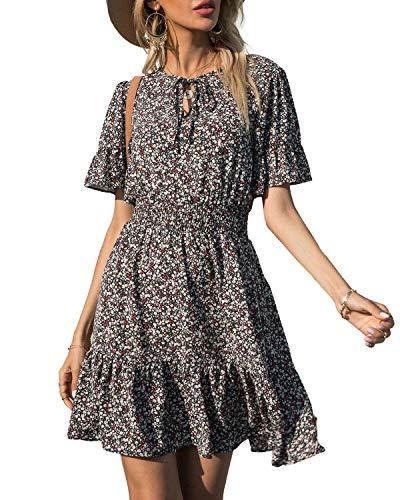 PRETTYGARDEN Women's Summer Short Dresses Floral Print Tie Neck Short Sleeve Elastic High Waist Ruffle Mini Dress (Black red, X-Large)