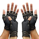 RHome Kupfer-Kompressions-Arthritis-Handschuhe, Halbfinger-Handschuhe, Arthritis, Gelenkschmerzen, Kompressionshandschuhe, Therapie-Klebepunkt-Handschuhe, unterstützt Karpal-Handschuhe