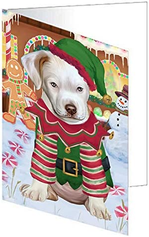 Christmas Gingerbread House Candyfest Pitbull SEAL limited product Dog Greeting Card Max 71% OFF