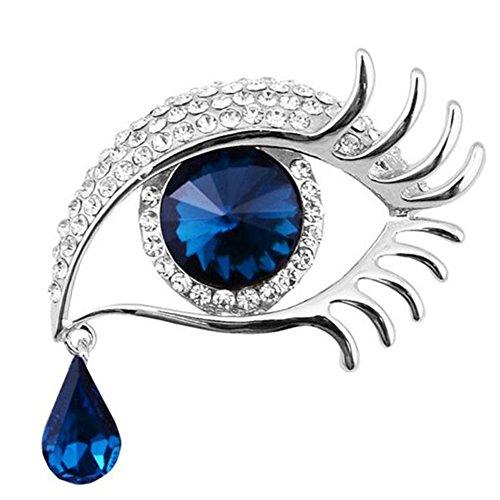 Cosanter Broche Alfiler Cristal Diamante Imitacion la Forma del Ojo para Boda Fiesta Color Plata y Azul