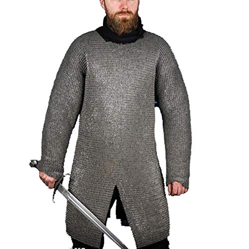 THE MEDIEVALS 6MM MS Round Riveted with Alternate Flat Ring Hauberk Chainmail Armor Full Sleeve Shirt - Natural Oiled Finish, X-Large