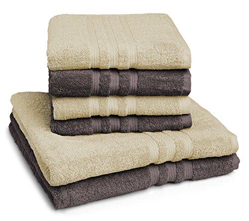 sleepling Handtuch Set 2 farbig (4 x Handtuch 50 x 100 cm, 2 x Duschtuch 70 x 140 cm) 100{c9ea9066359fc9a3d512e607b01530396c73c3534016477299dbadc771499b87} Baumwolle, Natur/braun