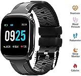 MEETGG Wasserdicht Smart Watch, 1,3 Zoll Touch Screen Smart Watch Herzfrequenz-Blutdruck-Monitoring Anrufinformationen Sedentary Erinnerung, Schwarz,Schwarz