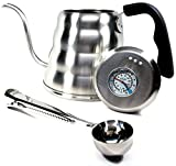 Pour Over Coffee Kettle with Thermometer 1.2L - Gooseneck Hand Grip - Premium Stainless Steel - Bonus Coffee Scoop