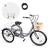 Viribus Adult Tricycle Three Wheel Trike Bike Single Speed Hybrid Cargo Cruiser with Removable...