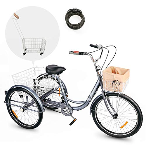 Viribus Adult Three Wheel Tricycle Single Speed Hybrid Cargo Cruiser Trike Bike with Removable Wheeled Basket Bell for Shopping or Dogs Dustproof Bag Exercise Bicycle (Gray/24)
