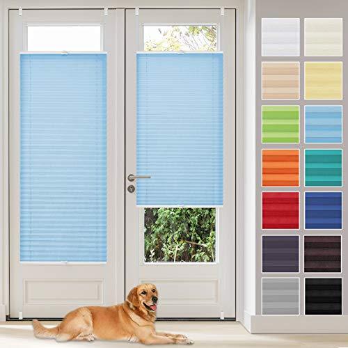 Vkele Plissee Klemmfix Faltrollo ohne Bohren (Blau, B75cm x H120cm) Sichtschutz und Sonnenschutz, Plissee Rollo Jalousie für Fenster und Tür