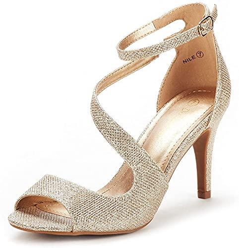 DREAM PAIRS Women's NILE Gold Glitter Fashion Stilettos Open Toe Pump Heel Sandals Size 9 B(M) US