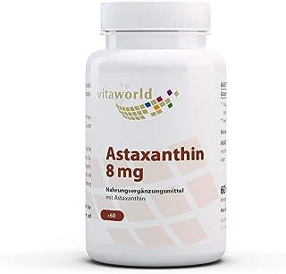 Astaxantina 8mg 60 Cápsulas Vita World Producción en farmacia en Alemania – Antioxidante - Haematococcus pluvialis