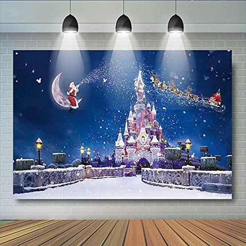 Foto Fondos Castillo de Navidad Fiesta de Navidad Fondo para Estudio Foto Invierno Estrellas de Hielo Luna Fantasía Decoración para Niños Fotomaton-3 x 2 m