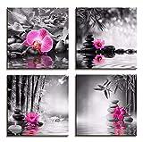 RuYun Toile Noir et Blanc Peinture Affiche Papillon orchidée Fleur Zen Pierres Wall Art Impression Bambou sur Toile Moderne Art décoration Murale 40cm_x40cm_x4p_No_Frame
